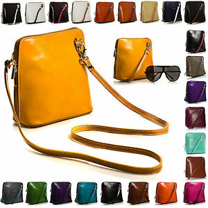 Womens Vera Pelle Mini Genuine Italian Leather Shoulder Cross Body Handbag Bag