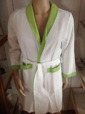 BELLORA accappatoio NIDO D'APE TAHITI bianco con profili in lino verdi S