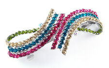 NEW LARGE MULTICOLOR GENUINE SPARKLING CRYSTALS FASHION HAIR BARRETTE CLIP