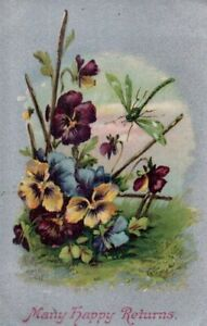 VINTAGE BIRTHDAY GREETING postcard:  DRAGONFLY & PANSY FLOWERS silver 1907