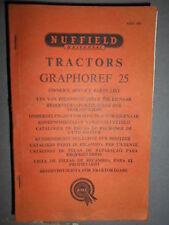 Nuffield tracteur GRAPHOREF 25 : catalogue pièces 1961