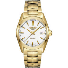 Roamer Women's Quartz Watch With White Dial Analogue Display and Gold Stainless