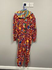 ex hire fancy dress costume- Colourful Clown Jumpsuit With Neck Ruffle