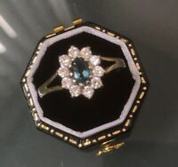 Women's 9ct Gold Quality Blue Topaz & CZ Stone Ring Size T Weight 1.6g Stamped