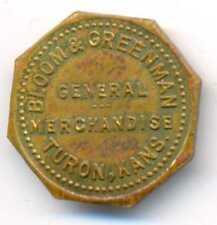 US Bloom & Greenman Turon Kansas General Merchandise Brass 10 Cent Token 1910s