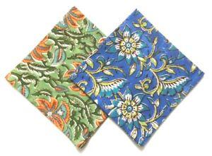 "Set of 2 Floral Print Cotton Pocket Square Hanky Handkerchief Green & Blue 12.5"""