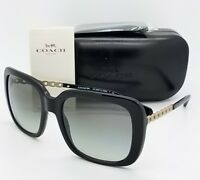 New Coach sunglasses HC8237 500211 57mm Black Gold Gradient Chain Butterfly 8237