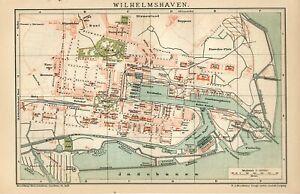1895 GERMANY WILHELMSHAVEN CITY PLAN Antique Map