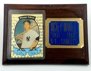 Mickey Mantle Plaque with Premiere Edition Pro File Card 1951-1968 Vintage 7x5