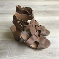 NINE WEST Womens 5.5 M Brown Leather Block Heel Ankle Strappy Shoes New