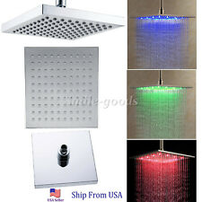 Hot 8 inch Temperature 3 Color #Bathroom LED Light Rain Top Shower Head#o