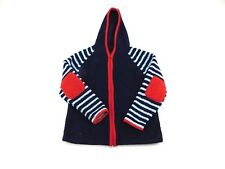 Hanna Anderson Girls Blue Red Full Zip Hooded Plush Elbow Patch Jacket 140