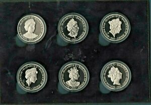 JERSEY -  RARE SET OF 6 PROOF FIVE POUND COINS - DIFFERENT PORTRAITS- AS ISSUED
