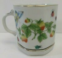 Vintage Coffee Espresso Teacup & Saucer #7170, Butterflies & Strawberries - EUC