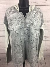 RUFF HEWN Sz XL Gray Hoodie Shirt Top Print Waffle Knit Sleeves Hood Womens