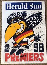 1998 Adelaide Crows Premiership Poster WEG 100% Original HAND SIGNED BY WEG
