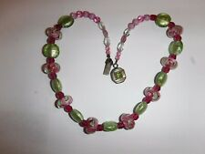 Vintage Art Glass & Murano Glass Bead Necklace Sterling Silver Peridot Clasp