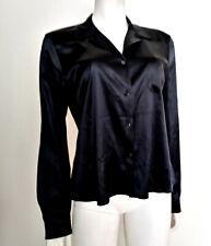 JIL SANDER Black Silk Button Front Blouse sz 42