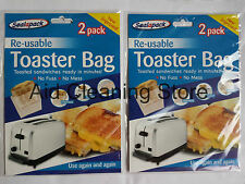 4 x Reusable Toaster Bag Non Stick Toastie Sandwich Toast Bags Pockets Toasty