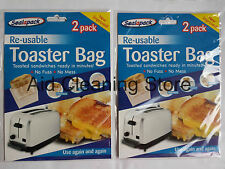 4 x Reusable Toaster Toastie Sandwich Toast Bags Pockets Toasty Non Stick
