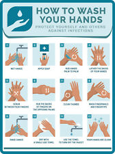 2 - WASH YOUR HAND WASHING INSTRUCTIONS STICKER - Bathroom Virus Soap Decal Sign
