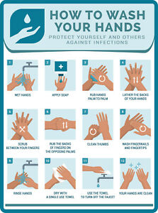 2 WASH YOUR HAND WASHING INSTRUCTIONS Bathroom Restroom Home Sink Employee Store