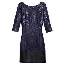 New Mark By Avon Hit the Spots Dress Blue Black Size Medium 3/4 Sleeve Women's