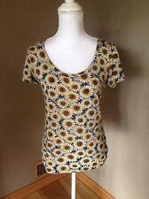Urban Outfitters Women's Sz M Short Sleeve Sunflower Printed Blouse Top,shirt