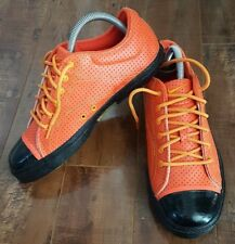 NIKE Leather Low Ox RARE Sneakers Shoes Perforated Orange/ Black Women Sz US 8