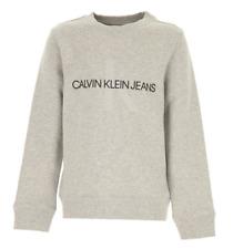CALVIN KLEIN JEANS Boys Girls Unisex Grey Monogram Crew Sweater 13-14 Years BNWT