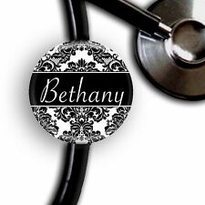 BLACK & WHITE DAMASK PERSONALIZED STETHOSCOPE ID TAG
