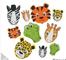 30 Animal Face Self-Adhesive Foam Stickers Zebra Cheetah Tiger Alligator Fun!!!