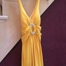 LM COLLECTION NWT LONG YELLOW GOWN CRYSTAL CENTER SIZE 4