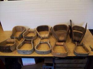 10 Vintage Horse Stirrups, 1 Set, 2 Covered in Leather (not a set)