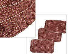 Vintage 4 Piece Slipcover Set Custom Made Cushion Covers & Skirt Red Pattern HTF
