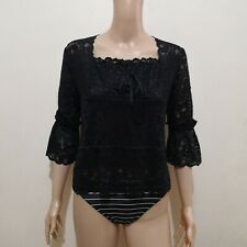 C637 - Ladies Fashion Black Lace 3/4 Sleeves Stretchable Blouse