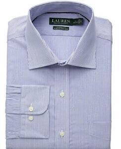 LAUREN RALPH LAUREN Ultraflex Dress Shirt Classic Stretch No Iron Blue Stripe