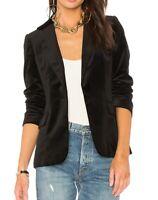 Frame Women's Blazer Noir Black Size 0 Classic Notch Velvet Lapel $575 343
