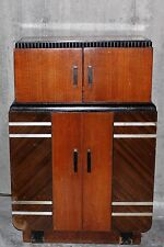 1930's PHILCO RADIO BAR 39 pieces of ORIGINAL GLASSWARE + CABINET - ART DECO Era