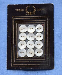 """0050 Antique """"Trademark"""" button card, pearl shell buttons gold line graphic"""
