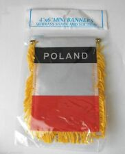 Poland Plain Mini Banner Flag Great For Car & Home Window Mirror Hanging 2 Sided