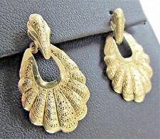 Vintage~Scallop Shell~14K Gold~Earrings~Pierce work~Etruscan Revival