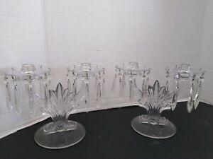 Vtg. Candelabras pair crystal prisms estate fine complete mint condition