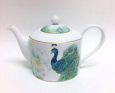 222 FIFTH LAKSHMI WHITE+TURQUOISE BLUE PEACOCK COFFEE POT,TEA POT,TEAPOT