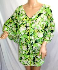 Ana Women Plus Size 1x 2x  Green Sheer Chiffon Floral Tunic Top Blouse Shirt
