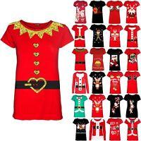 Womens Ladies Christmas Xmas Kids Girls Santa Costume Ribbon Cap Sleeve T Shirt