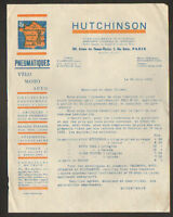 """PARIS (VIII°) USINE de LANGLEE 45 / PNEUS VELO MOTO AUTOMOBILE """"HUTCHINSON"""" 1925"""