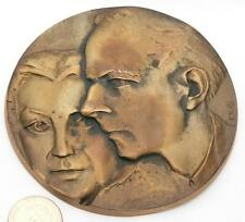 Béla Bartók and his wife Ditta Pásztory-Bartók,large bronze plaque.110mm/dia