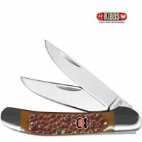 Robert Klaas Kissing Crane Copperhead Knife S. Steel Blades Tobacco Bone Handle