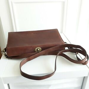 YOSHI LICHFIELD Brown Leather Top Fastening Cross Body Bag Slim Retro Handbag